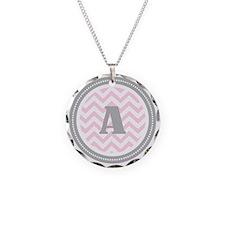PinkA Necklace Circle Charm
