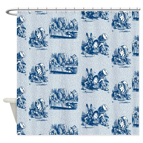 mad tea party text toile blue shower curtain