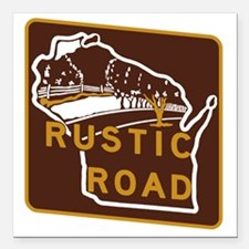 "Wisconsin Rustic Road Square Car Magnet 3"" x 3"""