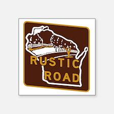 "Wisconsin Rustic Road Square Sticker 3"" x 3"""