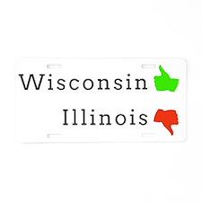 Wisconsin Thumbs Up, Illino Aluminum License Plate