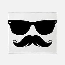 Sunglasses Mustache Throw Blanket