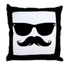 Sunglasses Mustache Throw Pillow