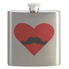Mustache Heart Flask