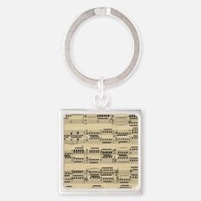 Vintage music notes Square Keychain