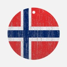 Vintage Norway Flag Round Ornament