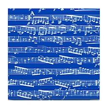 Dark blue music notes Tile Coaster