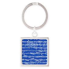 Dark blue music notes Square Keychain