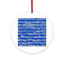 Dark blue music notes Round Ornament