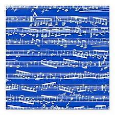 "Dark blue music notes Square Car Magnet 3"" x 3"""