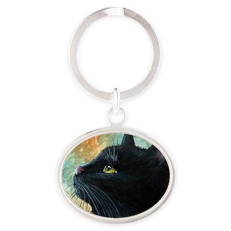 Cat 545 Oval Keychain