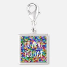 Do what you love Silver Square Charm