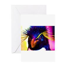 Rainbow Rockhopper Penguin Greeting Card