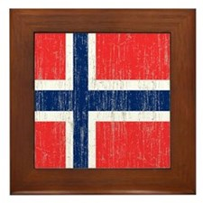 Vintage Norway Flag Shower Curtain Framed Tile