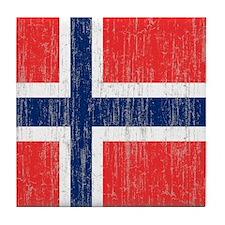 Vintage Norway Flag Queen Duvet Tile Coaster