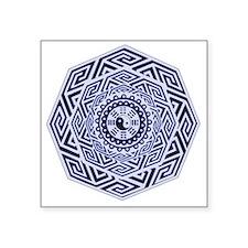 Deep Blue and White Yin Yang Mandala Sticker