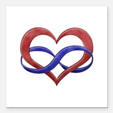 """Polyamory Heart Square Car Magnet 3"""" x 3"""""""
