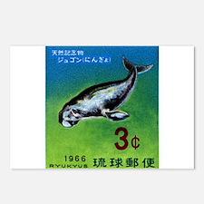 Vintage 1966 Ryukyu Dugong Postage Stamp Postcards