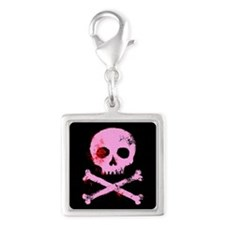 Pink Skull and Bones Silver Square Charm