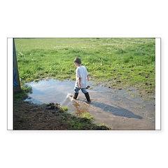 Boy splashing Rectangle Decal