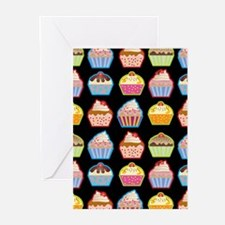 Cute Cupcakes On Black Background Greeting Cards (