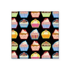 Cute Cupcakes On Black Background Sticker
