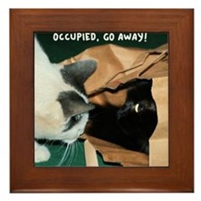 Occupied, Go Away Funny Cats Framed Tile