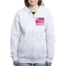 Pink Ribbon Multi pink Zip Hoodie