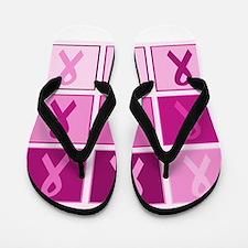 Pink Ribbon Multi pink Flip Flops