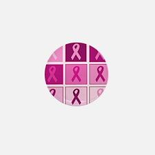 Pink Ribbon Multi pink Mini Button (10 pack)