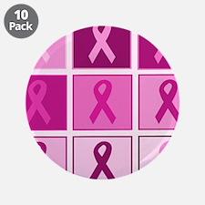 "Pink Ribbon Multi pink 3.5"" Button (10 pack)"