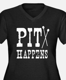 Pit Happens Women's Plus Size V-Neck Dark T-Shirt