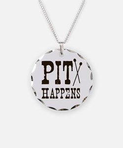 Pit Happens Necklace Circle Charm