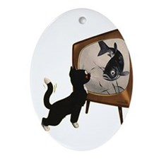 Black Cat and Fish Ornament (Oval)