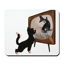 Black Cat and Fish Mousepad