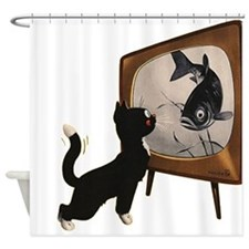 Black Cat and Fish Shower Curtain