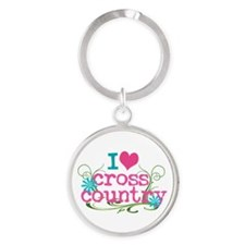 PINK I heart Cross Country Round Keychain
