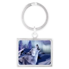 Winter Wolf Rectangular Keychain