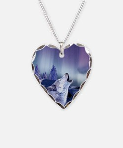 Winter Wolf Heart Necklace