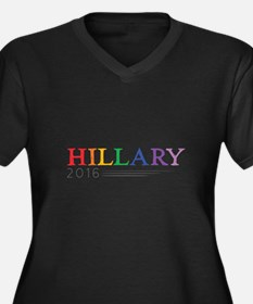 Rainbow Hillary 2016 Women's Plus Size V-Neck Dark