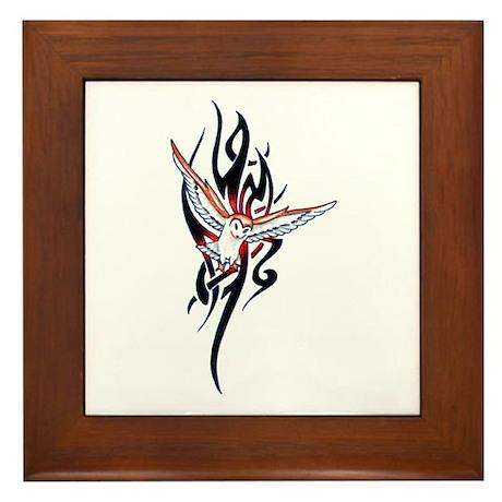 Owl Tribal Tattoo Framed Tile