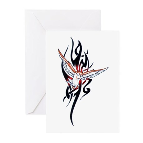 Owl Tribal Tattoo Greeting Cards (Pk of 10)