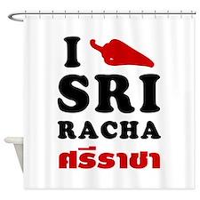 I Love Sriracha Shower Curtain