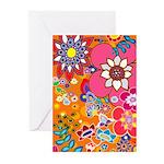 Fun Flowers(orange) Greeting Cards (Pack