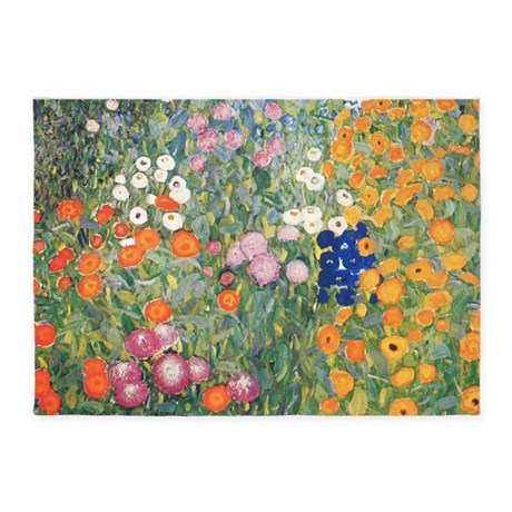 Flower Garden By Klimt 5 X7 Area Rug By Fineartdesigns