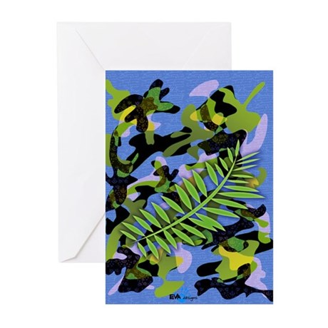 Camouflage (blue) Greeting Cards (Packag