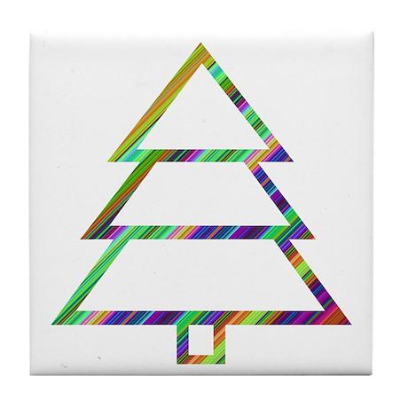 Groovy Christmas Tree Tile Coaster