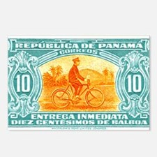 1929 Panama Bicycle Messenger Postage Stamp Postca
