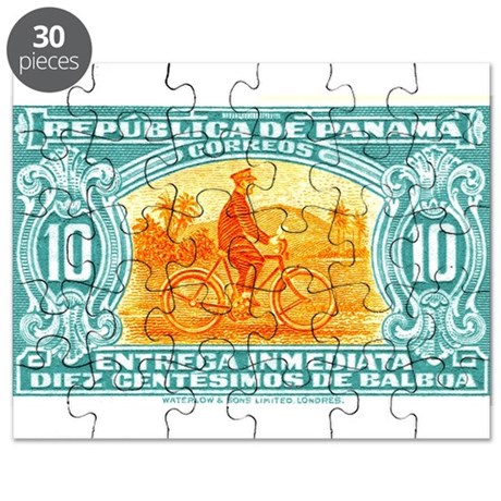 1929 Panama Bicycle Messenger Postage Stamp Puzzle