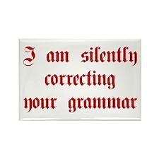 I-am-silently-grammar-plaing-brown Rectangle Magne